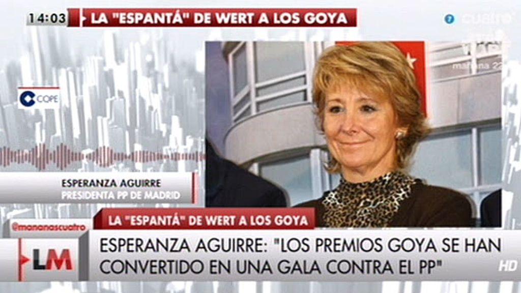 """Esperanza Aguirre: """"Los premios Goya se han convertido en una gala contra el PP"""""""