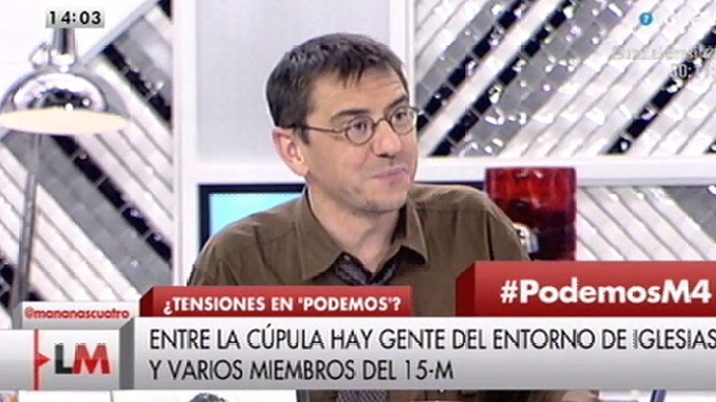 Juan Carlos Monedero, portavoz de Podemos, niega haberse planteando dimitir
