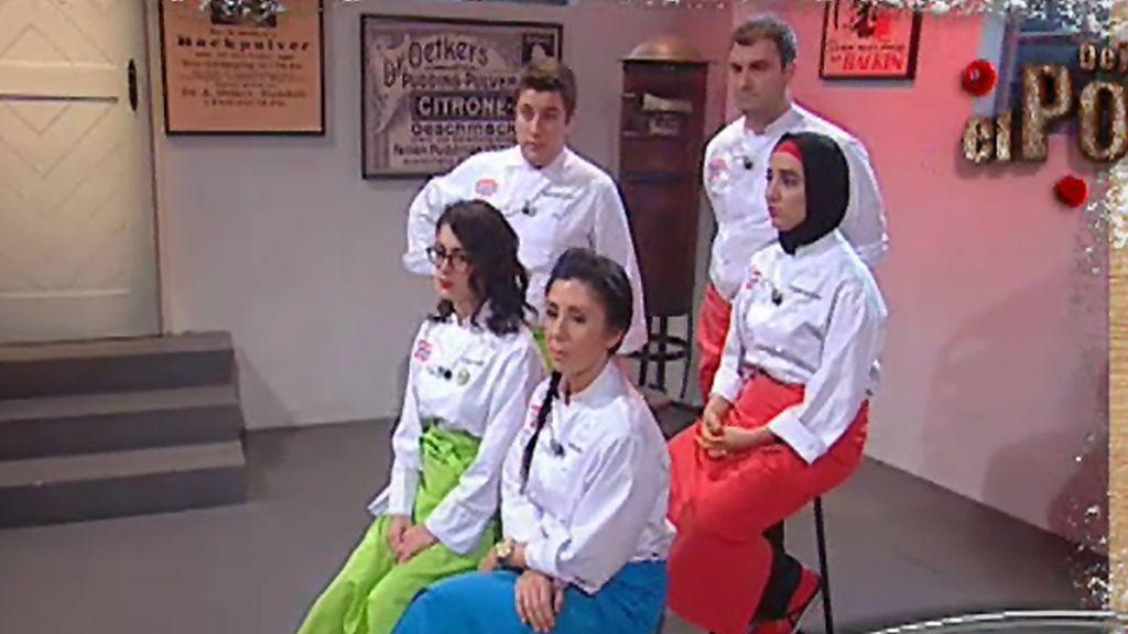 Bernabé, Carla, Rocío, David y Halima, finalistas de 'Deja sitio para el postre'