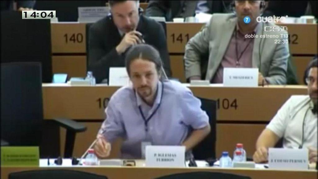 Pablo Iglesias, 'silenciado' durante su turno de palabra en el Parlamento Europeo