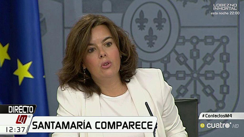 """Soraya Sáenz de Santamaría: """"Mantenemos nuestra oferta al PSOE, sin condiciones"""""""