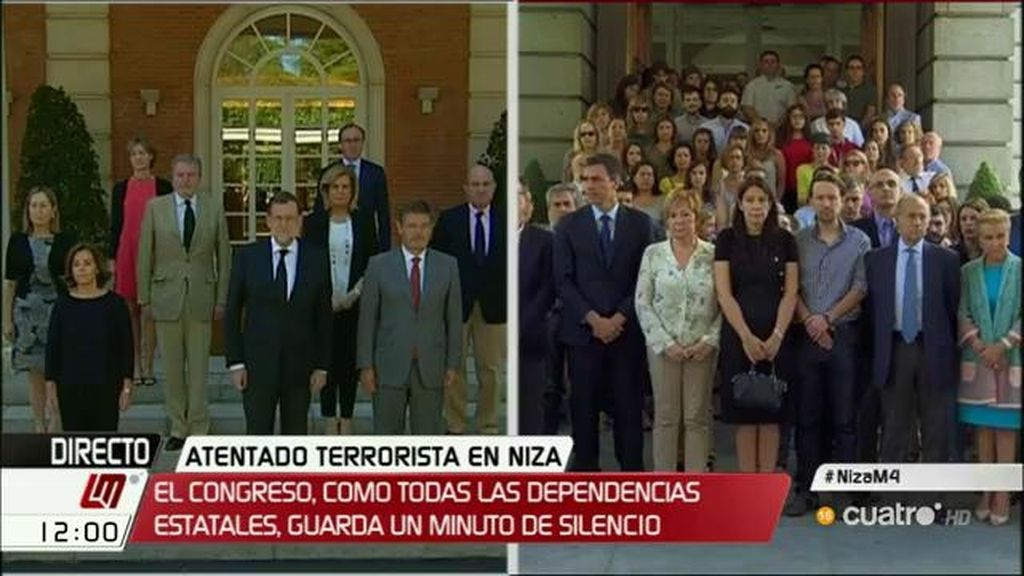 Minuto de silencio tras el atentado en Niza en todas las dependencias estatales