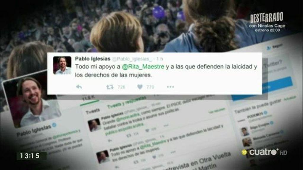 """Pablo Iglesias, en Twitter: """"Todo mi apoyo a Rita Maestre y a las que defienden la laicidad y los derechos de las mujeres"""""""