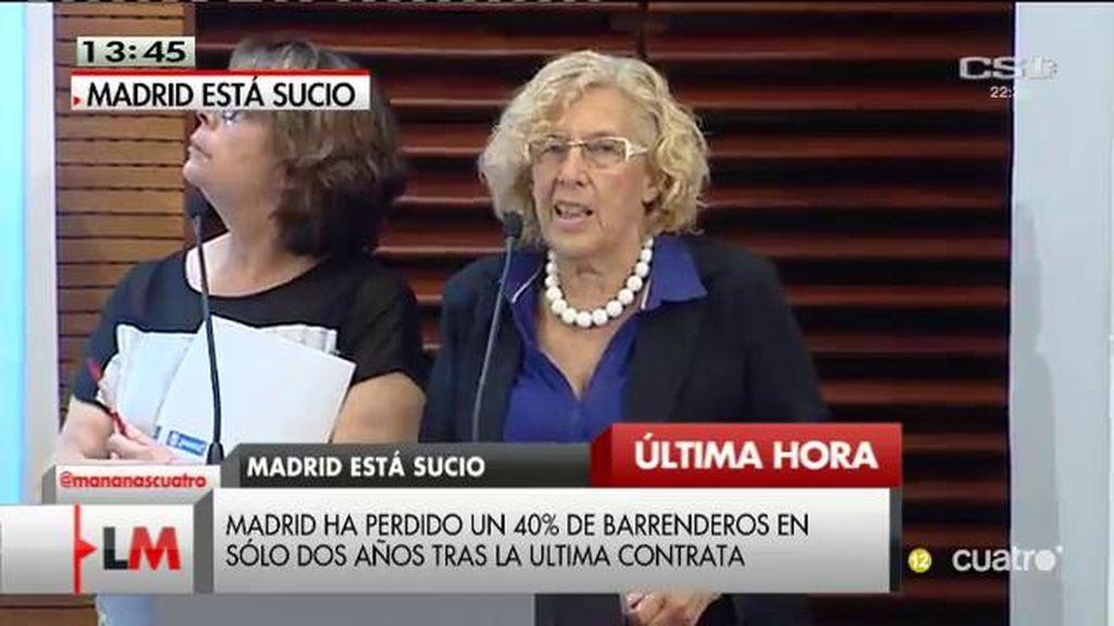 Carmena anuncia la anulación del ERE de los trabajadores de limpieza en Madrid