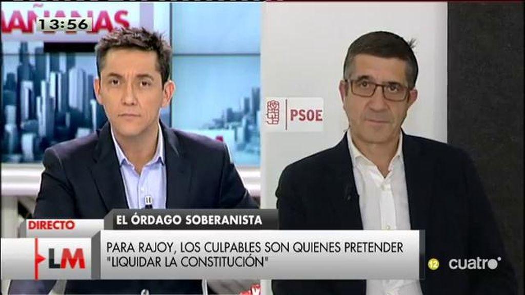 """Patxi López: """"Hay que defender a la mayoría de la sociedad catalana"""""""
