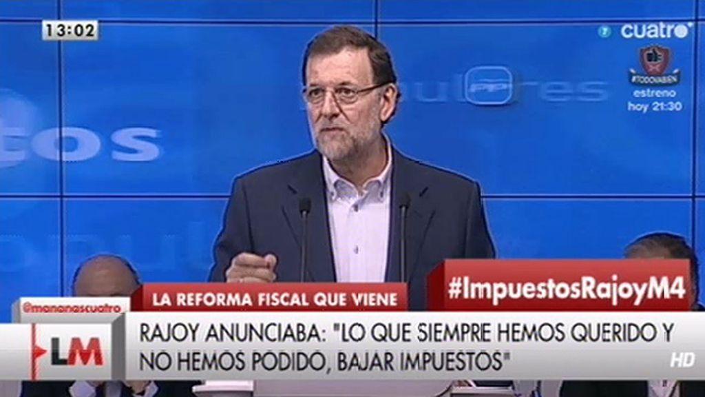"""Mariano Rajoy: """"Era imposible bajar los impuestos pero ahora ya podemos hacerlo"""""""