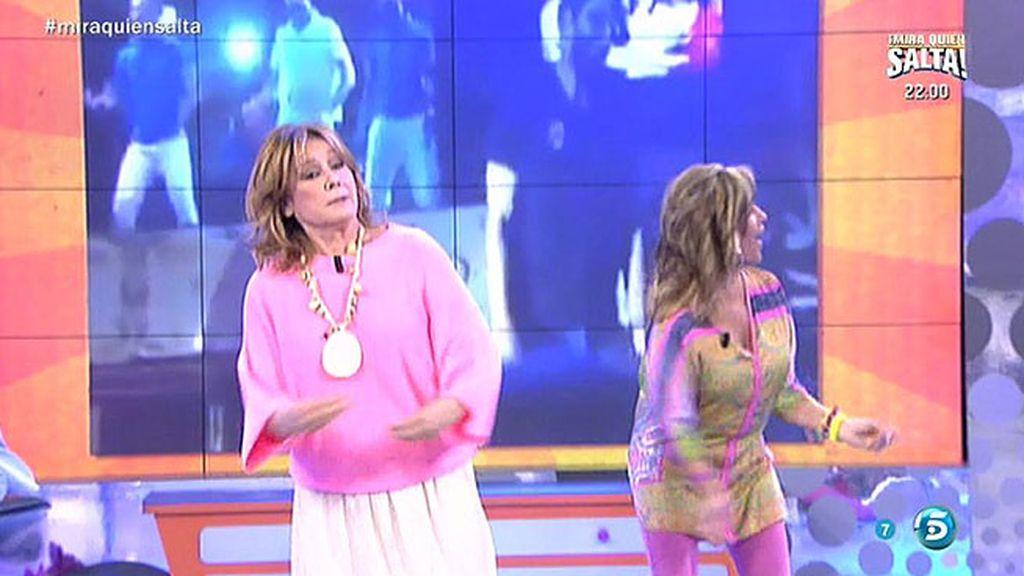 Lydia Lozano y Mila Ximénez intentan imitar el baile del actor Rubén Cortada