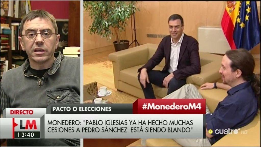 """Monedero, tras la reunión de Sánchez e Iglesias: """"Pablo está siendo un poco blando"""""""