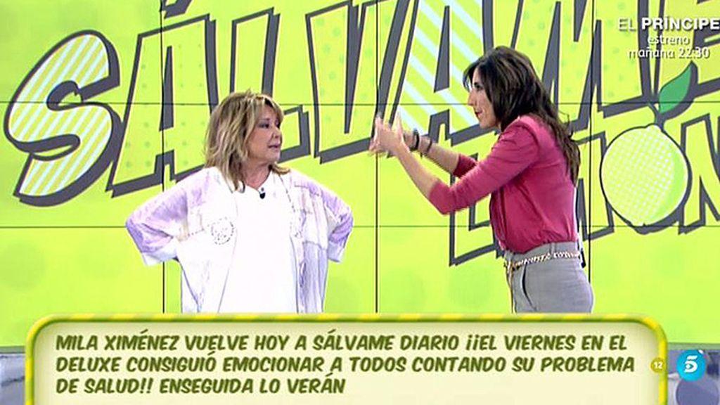 """¡Mila Ximénez vuelve a 'Sálvame'!: """"Estoy bien, puedo hacer hasta la croqueta"""""""