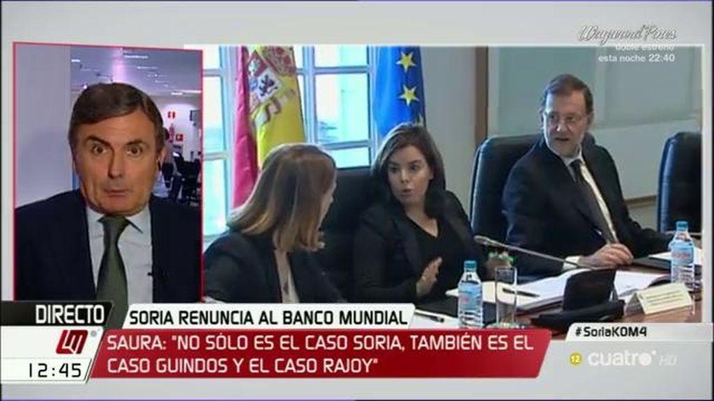 """Saura: """"No es sólo el caso Soria, también es el caso De Guindos y el caso Rajoy"""""""