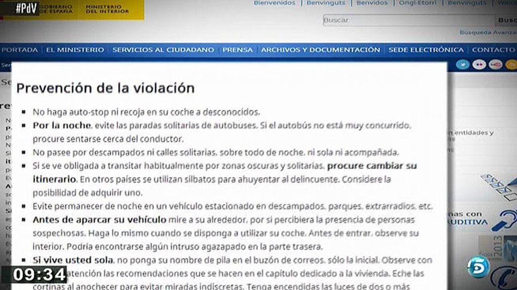 Polémica por las recomendaciones del Ministerio del Interior para evitar violaciones
