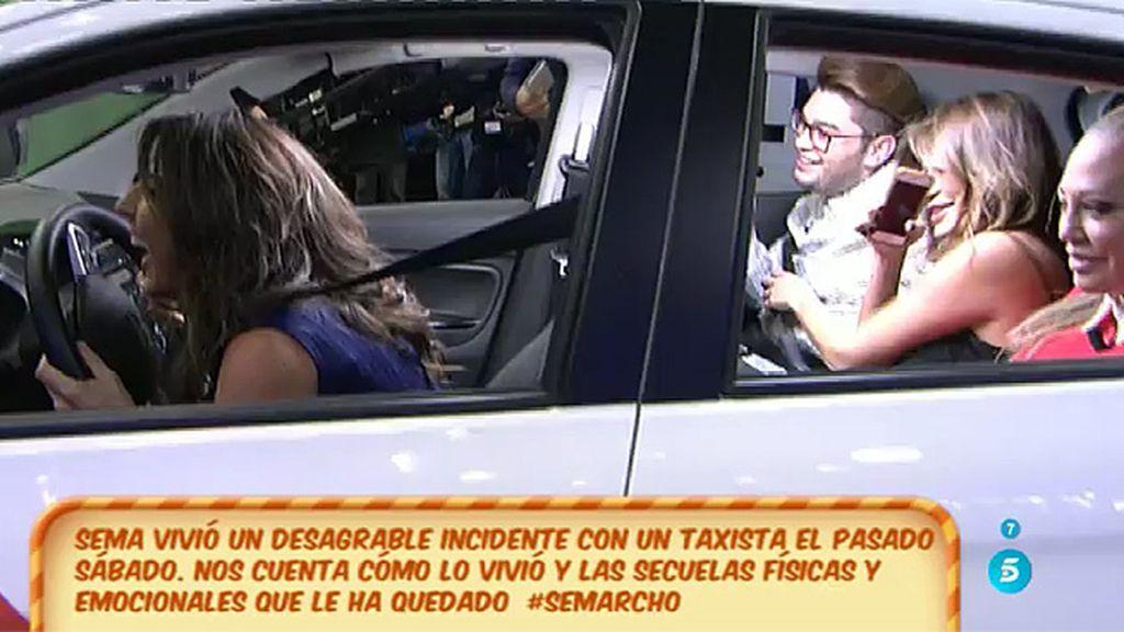 Tras su incidente con un taxista... Sema llega a 'Sálvame' en taxi