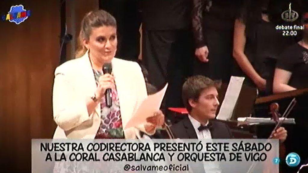 Carlota Corredera, presentadora del concierto de primavera de la Coral Casablanca de Vigo