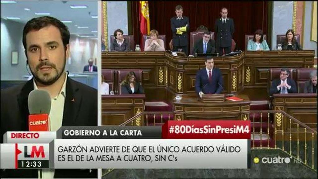 """Garzón: """"Nos parecería buena noticia que PSOE y Podemos compartieran un gobierno que nosotros apoyáramos desde fuera"""""""