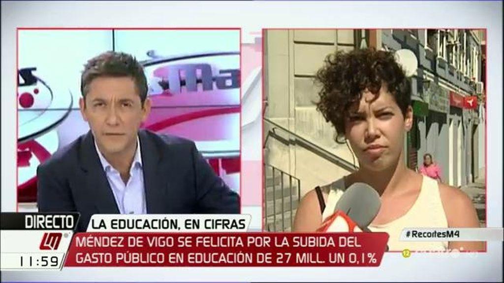 """Ana García """"Para educación no hay dinero, pero para que Wert viva bien en París sí"""""""