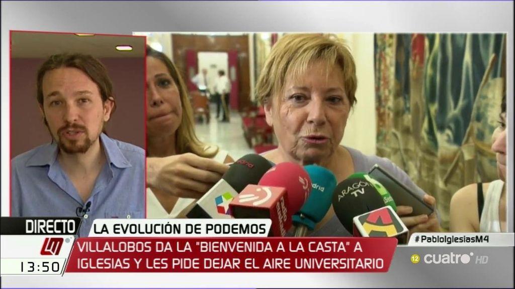 """Iglesias responde a las palabras de Villalobos: """"Al PP, ni con un palo"""""""