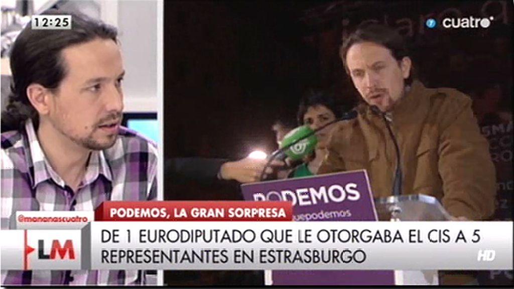 """P. Iglesias: """"No hemos cumplido por ahora el objetivo de superar a los partidos de la casta"""""""