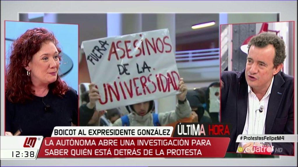 """Cristina Fallarás, sobre González: """"No querría que ningún fascista hablara en la universidad"""""""