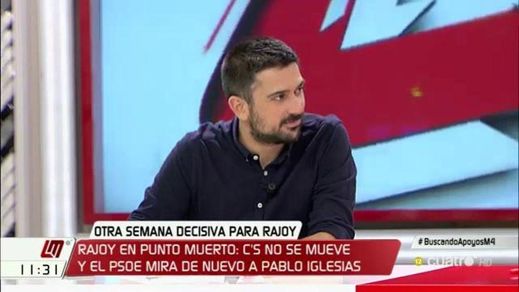 """Ramón Espinar: """"El descalabro de Pedro Sánchez debería anticipar que Rajoy sufrirá otro si no es capaz de negociar"""""""