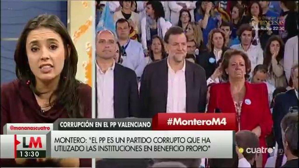 """Irene Montero: """"¿De qué tamaño es el cesto de manzanas podridas del PP?"""""""
