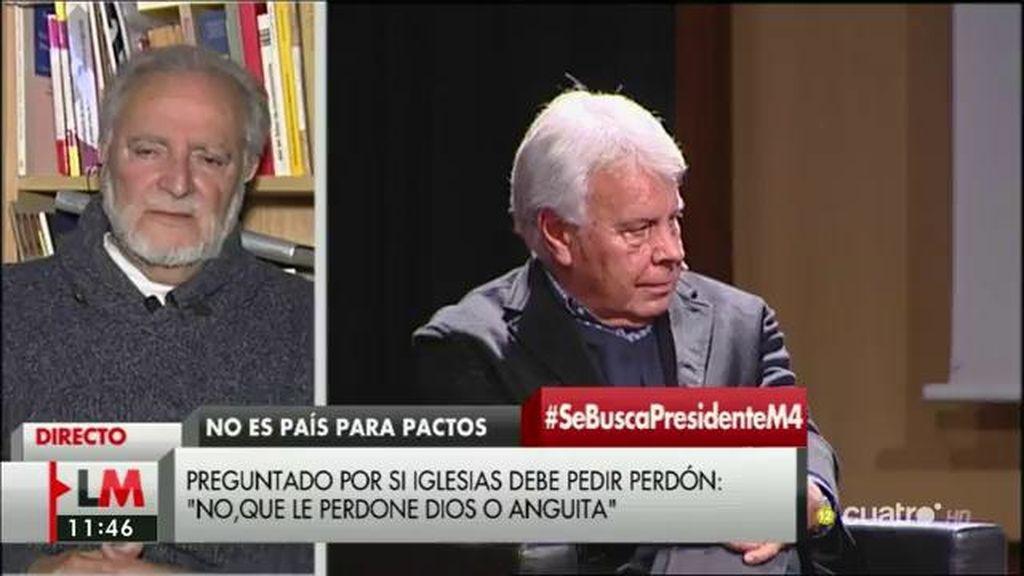 "Anguita responde a Felipe González: ""Que la historia lo perdone a él"""