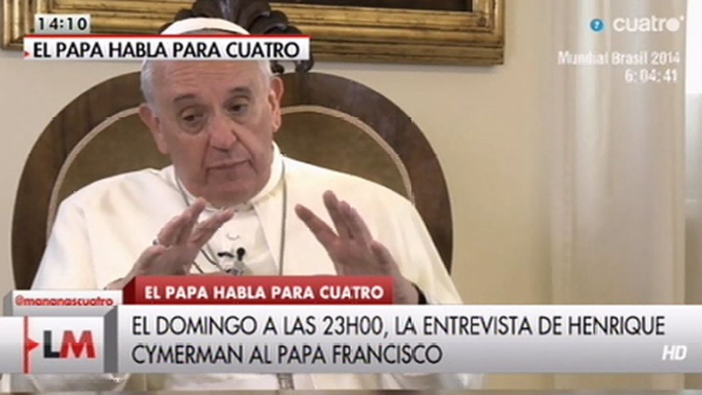 La entrevista al Papa Francisco, el domingo 15 de junio a las 23.00h. en Cuatro
