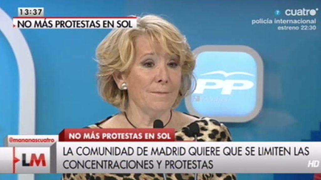 """Esperanza Aguirre: """"No se puede convertir la Puerta del Sol en un manifestódromo"""""""