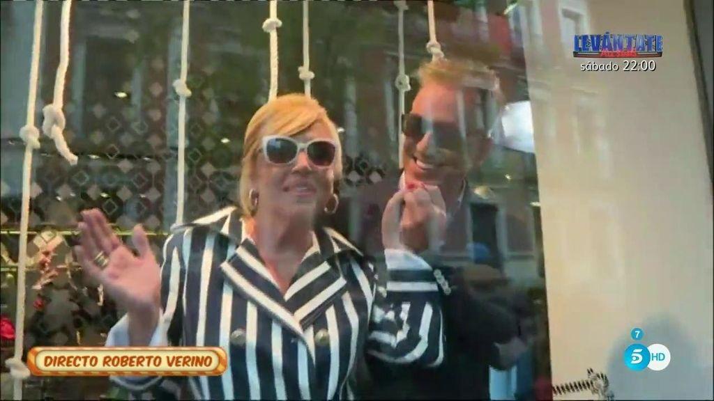 Los colaboradores de Sálvame ejercen de maniquíes en la tienda de Roberto Verino