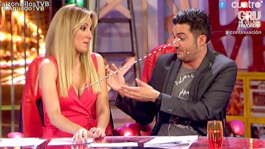 Xavi Rodríguez, pillado in fraganti mirando el escote de Edurne