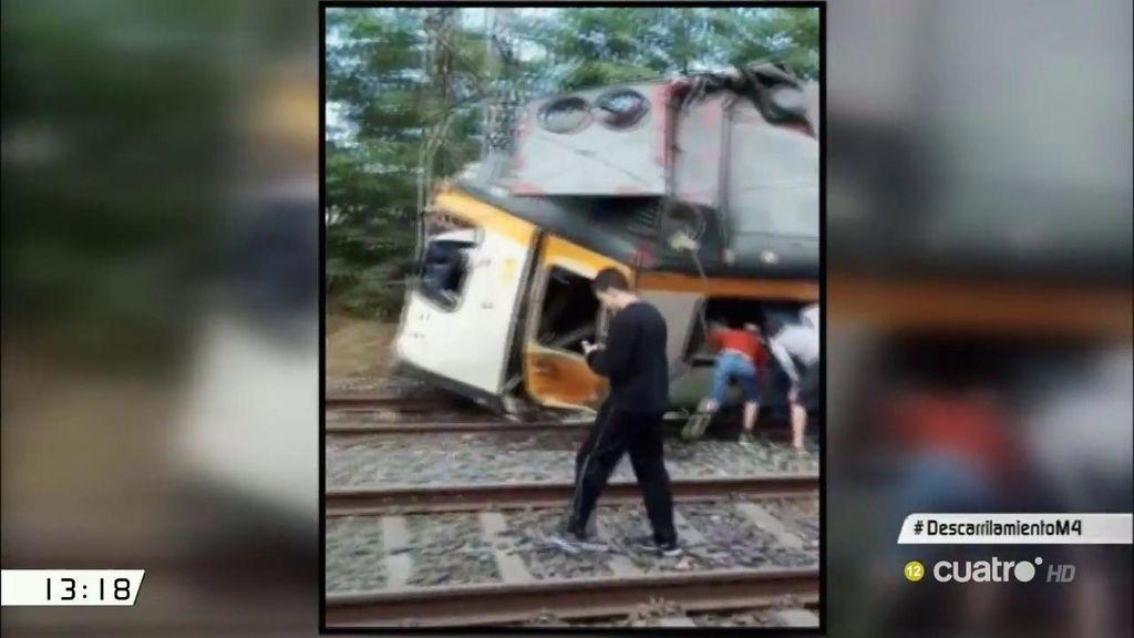 Primeras imágenes del accidente por el descarrilamiento de un tren en O Porriño