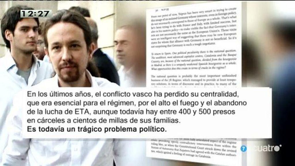 Podemos emite una nota y aclara el trágico problema político es ETA, no la dispersión