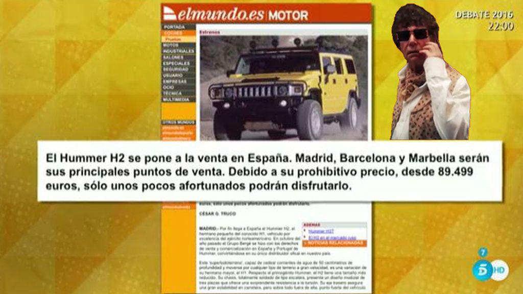 Jesús Quintero, en la ruina pero con un Hummer H2 de 89.500 euros