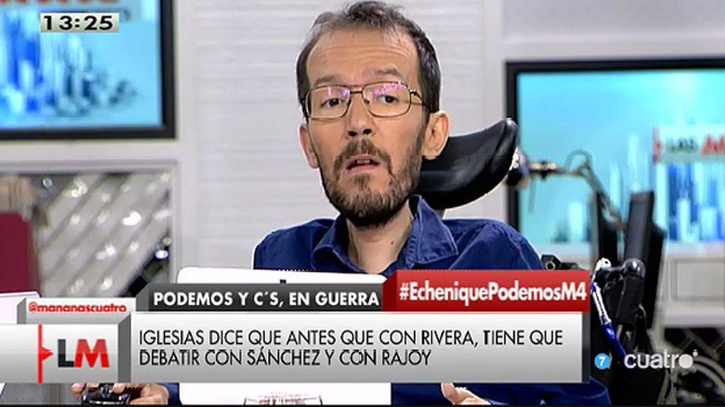 """Pablo Echenique: """"No tengo ningún miedo a debatir con Ciudadanos"""""""
