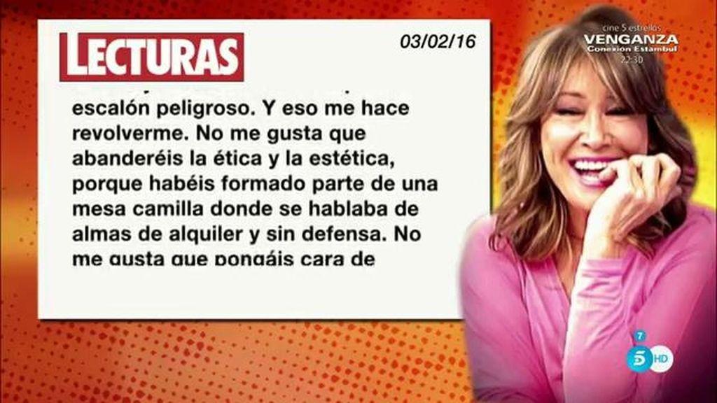 """La carta de Mila a Teresa y Terelu Campos: """"No me gusta que abanderéis la ética"""""""