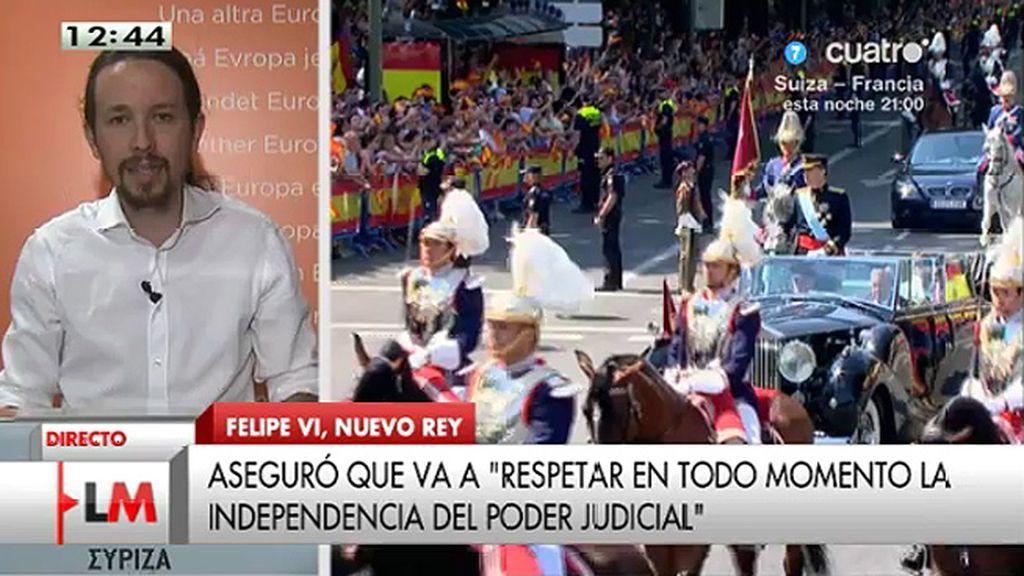 """Pablo Iglesias: """"Es triste la imagen en la que el Gobierno convierte a la policía en guardaespaldas de los inviolables"""""""