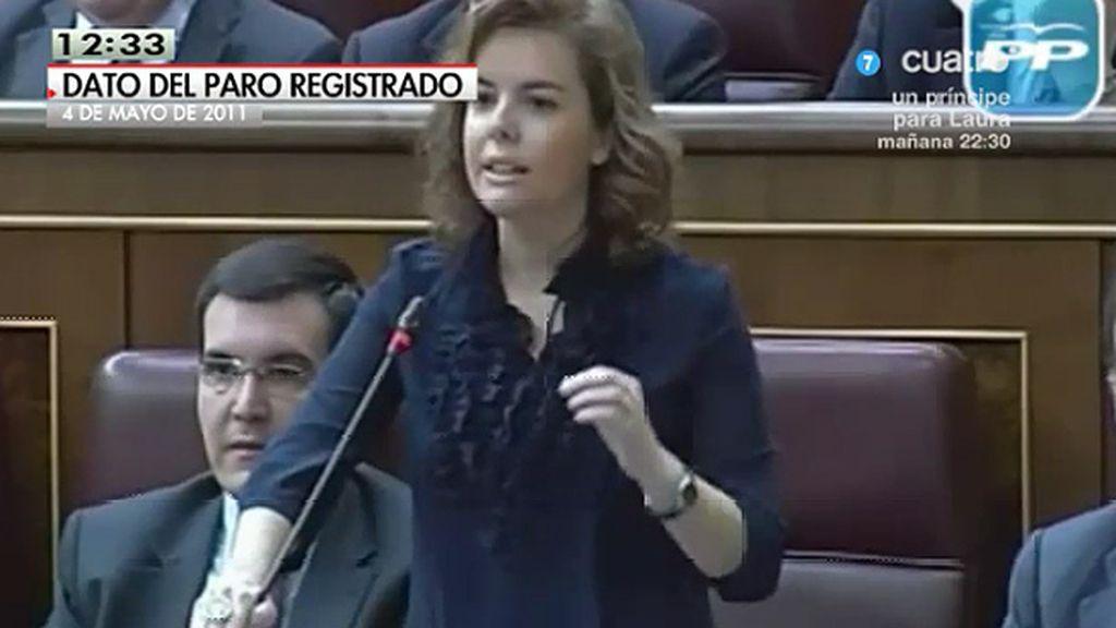 Santamaría criticó a Rubalcaba afirmando que el dato del paro de abril era estacional