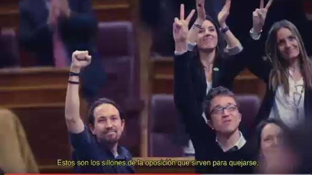 """Podemos se pone """"serio"""" y """"habla de sillones"""" en su nuevo vídeo electoral"""