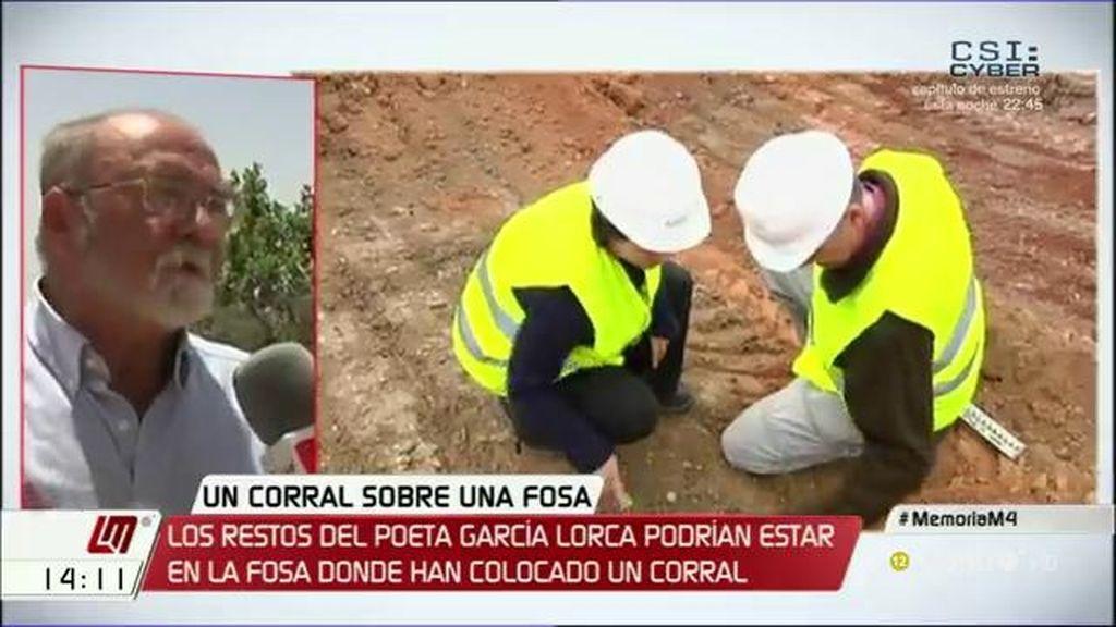 """F. Vigares: """"Este corral es una falta de respeto a las  víctimas del franquismo porque está en una zona donde hay fosas comunes"""""""
