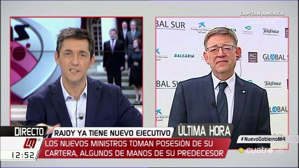 """Ximo Puig, sobre Cospedal: """"No sé qué va a aportar a la defensa nacional esta señora"""""""