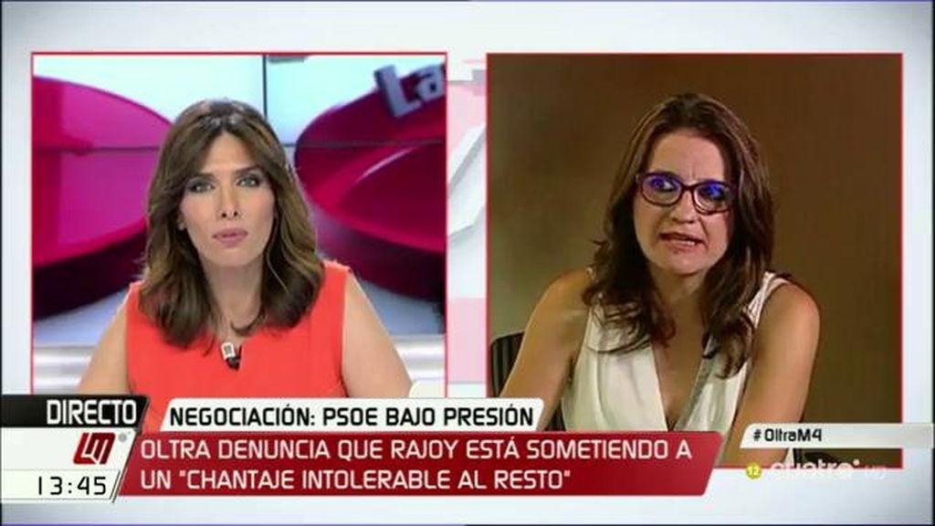 """Oltra cree """"en una alternativa"""" en la que PSOE, Podemos, Compromís y C's pudieran explorar """"al menos una investidura"""""""