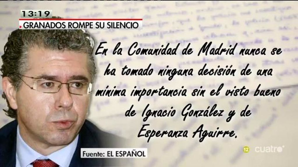 """Francisco Granados, en 'El Español': """"Nunca he cobrado comisiones"""""""