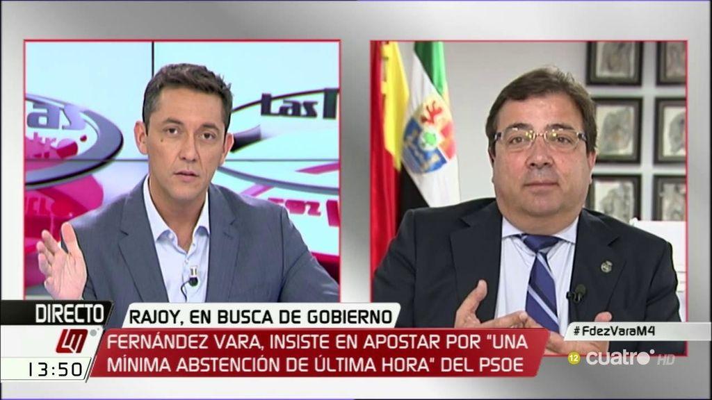 """Fernández-Vara: """"La gente no permitirá que haya nuevas elecciones y a la izquierda y al PSOE le vendría de desastre"""""""