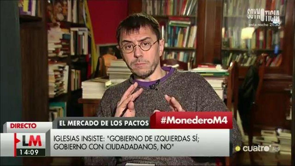 """Juan Carlos Monedero: """"Quien plantee negociar con el PP está siendo cómplice de alguna manera de los asuntos de corrupción"""""""