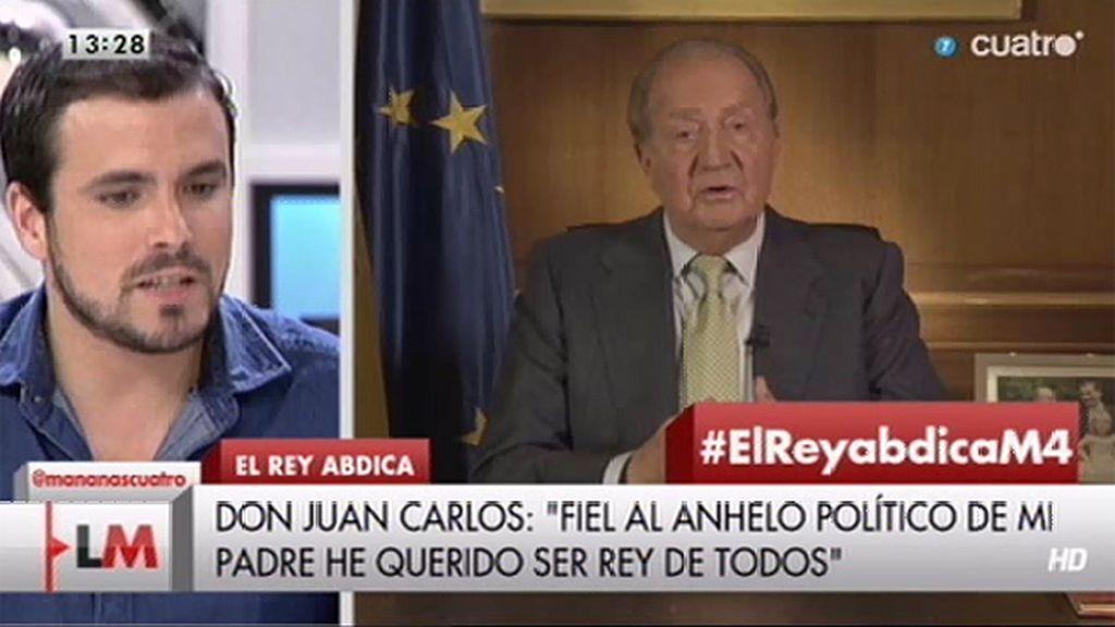 """Alberto Garzón (IU): """"La república es un símbolo que nos puede permitir decir que vamos hacia una nueva política"""""""