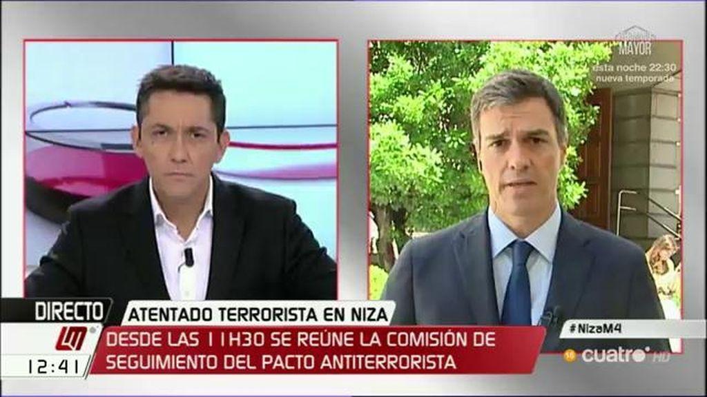 """P. Sánchez: """"Lo más importante es consolidar los espacios de unidad democrática para hacer frente al terrorismo yihadista"""""""