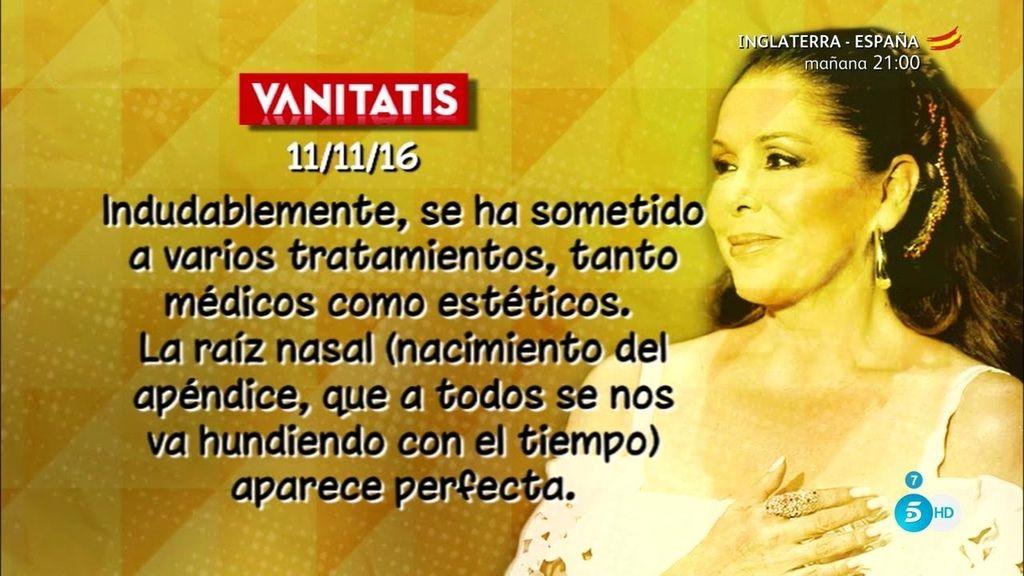 Isabel Pantoja y los nuevos retoques que se ha hecho, según 'Vanitatis'