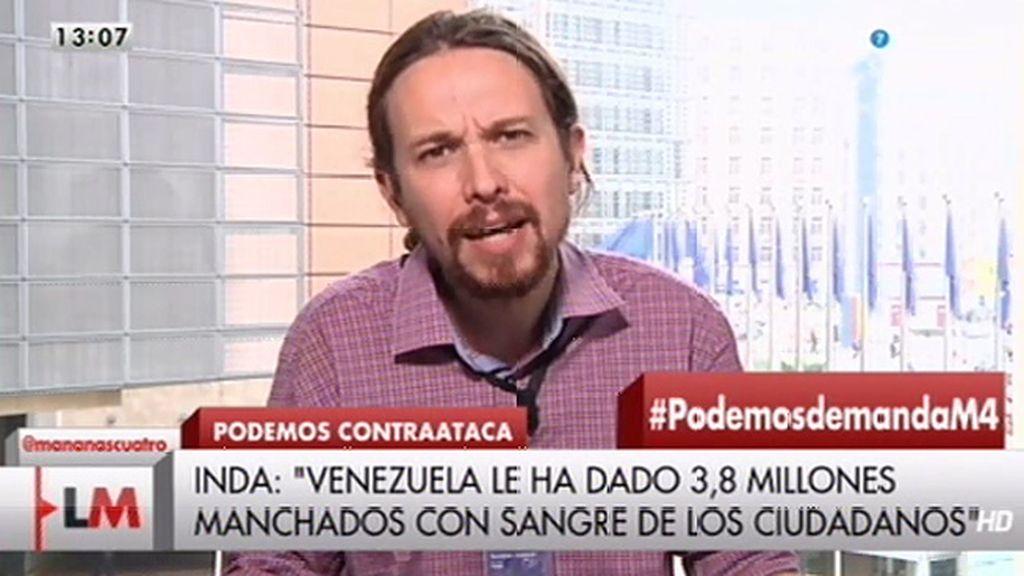"""Pablo Iglesias califica de """"bajeza moral"""" las palabras de Inda sobre él"""