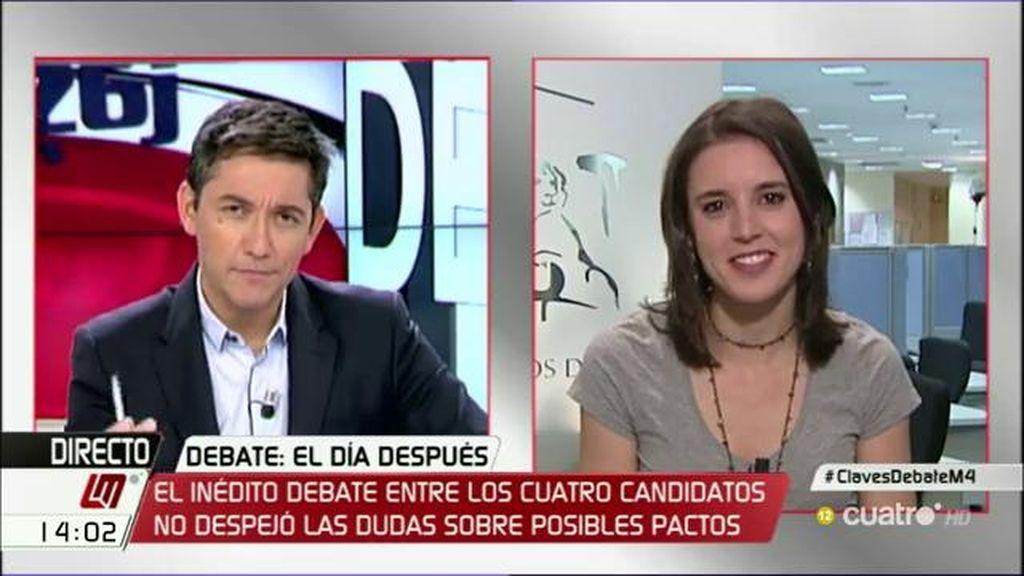 """Irene Montero: """"A Rajoy no le explicamos lo malo de nuestro país, sino lo malas que han sido sus políticas"""""""