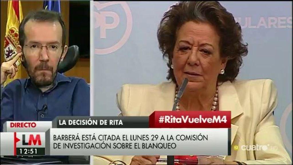 """Pablo Echenique, de Rita Barberá: """"Tiene que dimitir, lo que ha hecho hoy es una vergüenza"""""""