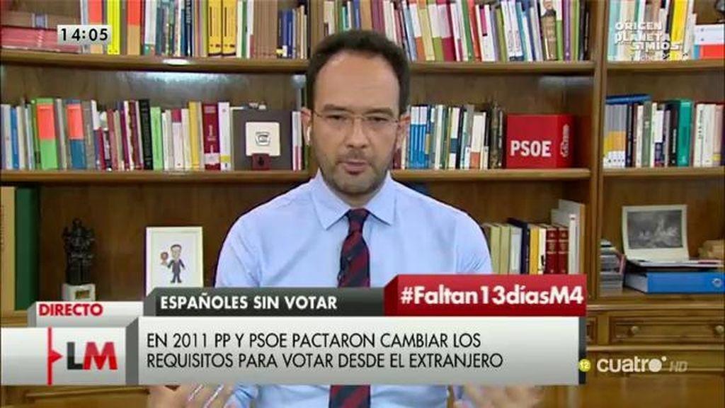 """Antonio Hernando: """"Nos equivocamos con el voto rogado, pero el PP no quiere cambiarlo"""""""